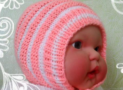 Как связать на спицах красивую шапочку новорожденному