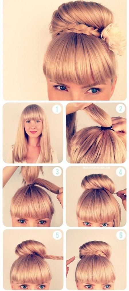 Прически на средние волосы с длинной челкой своими руками 2