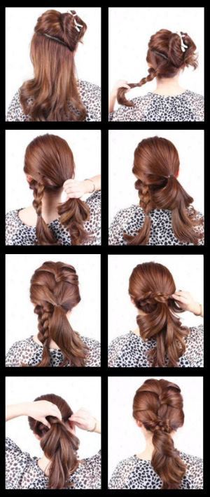 Прическа на средние волосы со схемой