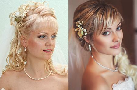 Прически свадебные с фатой с челкой