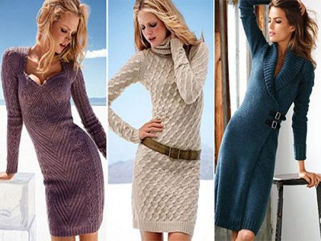 Модные вязаные модели платьев